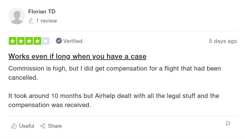 AirHelp review from Florian