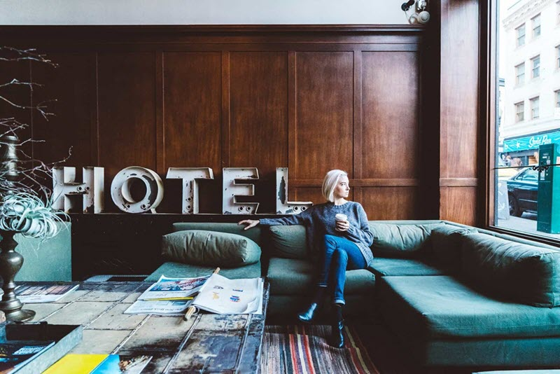 a women in hotel